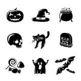 Set of monochrome HALLOWEEN icons -pumpkin, witch Stock Photo