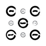 Set of monochrome hand-drawn validation icons scanned and vector Stock Photo