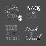Set of 4 monochrome handwritten inscription Back to school. Royalty Free Stock Photo