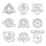 Set of Monochrome Hipster Vintage Label, Logo and Badge Templates. Trendy Line Design. Vector Illustration Royalty Free Stock Photos