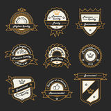Set of Monochrome Hipster Vintage Label, Logo and Badge Templates. Trendy Line Design. Stock Photos