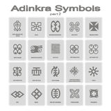 Set of monochrome icons with adinkra symbols Royalty Free Stock Photos