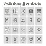 Set of monochrome icons with adinkra symbols Stock Images