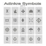 Set of monochrome icons with adinkra symbols Royalty Free Stock Photo