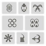 Set of monochrome icons with adinkra symbols Stock Photos