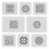 Set of monochrome icons with American Indians  art and ethnic ornaments Stock Photography