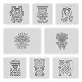 Set of monochrome icons with American Indians relics dingbats character (part 3) Royalty Free Stock Photo