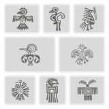 Set of monochrome icons with American Indians relics dingbats character (part 4). Set of monochrome icons with American Indians relics dingbats characters for Royalty Free Stock Image