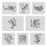 Set of monochrome icons with American Indians relics dingbats character (part 5) Royalty Free Stock Images