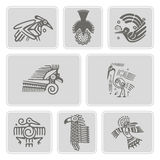 Set of monochrome icons with American Indians relics dingbats character (part 6) Royalty Free Stock Photos