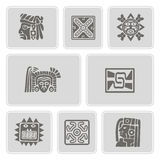 Set of monochrome icons with American Indians relics dingbats characters (part 8) Royalty Free Stock Photos