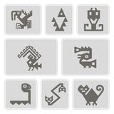 Set of monochrome icons with American Indians relics dingbats characters (part 9) Royalty Free Stock Photos