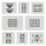 Set of monochrome icons with American Indians relics dingbats characters  (part 10) Stock Photography