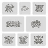 Set of monochrome icons with American Indians relics dingbats characters Royalty Free Stock Photos