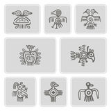 Set of monochrome icons with American Indians relics dingbats characters Stock Photos