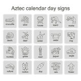 Set of monochrome icons with Aztec calendar Day signs Stock Photos