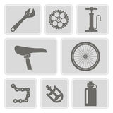 Set of monochrome icons with bicycle Royalty Free Stock Photo
