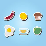 Set of monochrome icons with breakfast symbols Stock Image