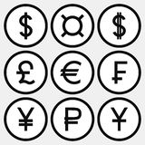 Set of monochrome icons with different currency symbols. Black symbols in white circles with black strike Stock Image