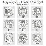 Set of monochrome icons with  glyphs of the Maya Night Lord. For your design Royalty Free Stock Photos