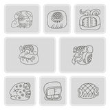 Set of monochrome icons with glyphs of the Mayan writing Stock Image