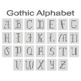 Set of monochrome icons with gothic alphabet Royalty Free Stock Photography