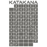 Set of monochrome icons with japanese alphabet katakana. For your design Royalty Free Stock Photo