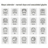 Set of monochrome icons with  Maya calendar named days and associated glyphs Royalty Free Stock Photos