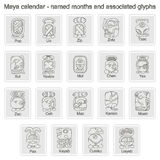 Set of monochrome icons with  Maya calendar named month and associated glyphs Royalty Free Stock Photography