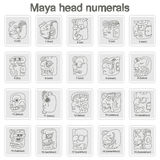 Set of monochrome icons with Maya head numerals  glyphs Stock Photography