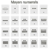 Set of monochrome icons with Mayan numerals  glyphs. For your design Royalty Free Stock Photos