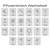 Set of monochrome icons with phoenician alphabet Royalty Free Stock Photography