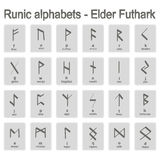 Set of monochrome icons with runic alphabets Royalty Free Stock Images