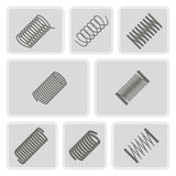 Set of monochrome icons with Springs Stock Photo