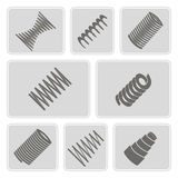 Set of monochrome icons with Springs Royalty Free Stock Photography