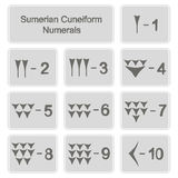 Set of monochrome icons with sumerian cuneiform numerals. For your design Stock Photo