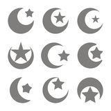 Set of monochrome icons with symbol of islam crescent moon with star. For your design Royalty Free Stock Images