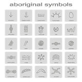 Set of monochrome icons with symbols of Australian aboriginal art Stock Image