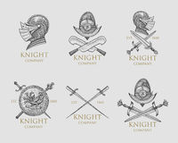 Set of monochrome knights emblems, badges, labels and logos medieval helmet, swords, mace, daggers shield antique Royalty Free Stock Photos