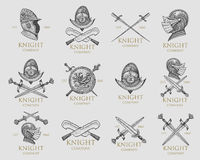 Set of monochrome knights emblems, badges, labels and logos medieval helmet, swords, mace, daggers shield antique Royalty Free Stock Photo