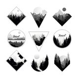 Set of monochrome landscapes in geometric shapes circle, triangle, rhombus. Natural sceneries with wild pine forests Royalty Free Stock Image