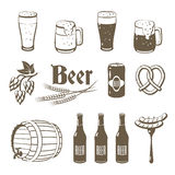 Set of monochrome, lineart food icons: beer. Stock Image