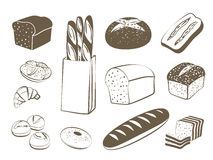 Set of monochrome, lineart food icons: bread - rye bread, ciabatta, wheat bread, whole grain bread, bagel, sliced bread, french ba Stock Photography