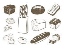 Set of monochrome, lineart food icons: bread - rye bread, ciabatta, wheat bread, whole grain bread, bagel, sliced bread, french ba Stock Photography