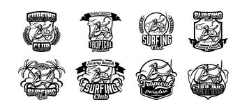 Set of monochrome logos, emblems, girl surfer. Surfing on the waves, the beach, weekend, extreme sport. Vector. Illustration Royalty Free Stock Photography