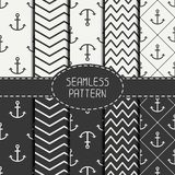 Set of monochrome marine geometri seamless pattern Royalty Free Stock Image