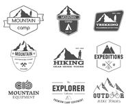 Set of monochrome outdoor adventure explorer camp Stock Photos