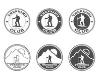 Set of monochrome outdoor adventure explorer camp Stock Images