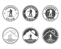 Set of monochrome outdoor adventure explorer camp Royalty Free Stock Photos