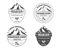 Set of monochrome outdoor adventure and mountain Royalty Free Stock Image